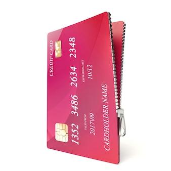 Kreditkarte mit reißverschluss