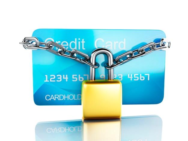 Kreditkarte und lock.safe bankwesenkonzept auf weißem hintergrund