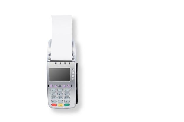 Kreditkartenleser auf weißem hintergrund