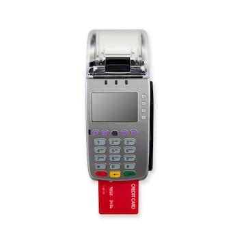 Kreditkartenleser lokalisiert auf weißer wand