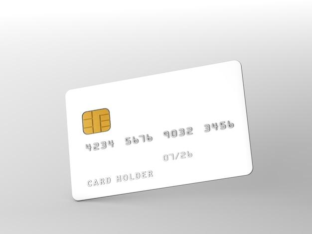 Kreditkartenmodell über grauem hintergrund. 3d-rendering.