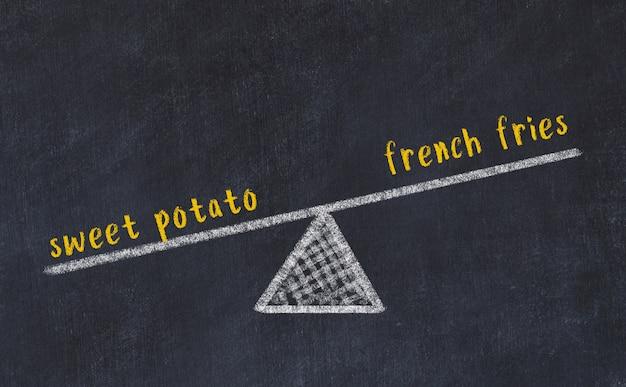 Kreidebrettskizze der skalen. konzept des gleichgewichts zwischen süßkartoffel und pommes-frites