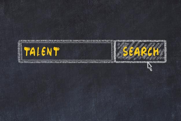 Kreidebrettskizze der suchmaschine. konzept der suche nach talent