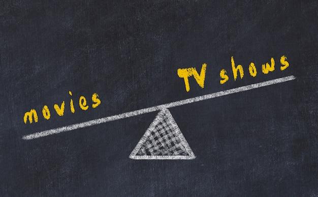 Kreidebrettskizze von skalen, konzept der balance zwischen fernsehsendungen und filmen