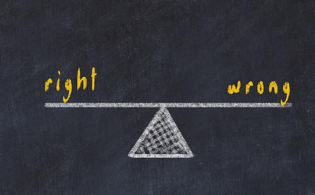Kreidebrettskizze von skalen, konzept des gleichgewichts zwischen recht und unrecht