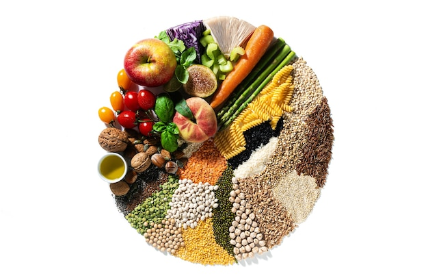 Kreis der veganen grundzutaten und produkte. getreide, hülsenfrüchte, frisches gemüse und obst, öle, samen und nüsse. ausgewogene gesunde ernährung isoliert auf weiß