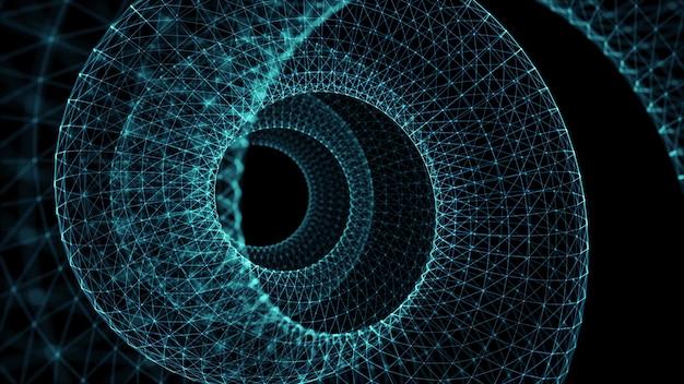 Kreis drahtgitterlinie, science-fiction-stil, 3d-rendering