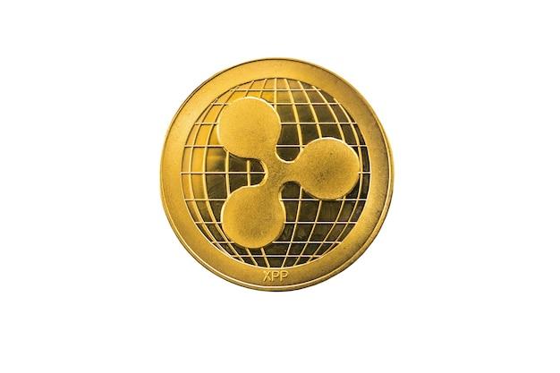 Kreis goldene welligkeit münze lokalisiert auf weißem hintergrund.