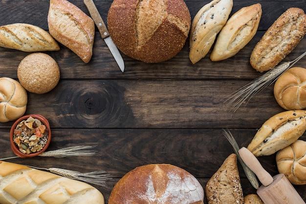 Kreis-layout mit bäckerei am schreibtisch