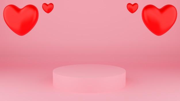 Kreis podium rosa pastellfarbe mit rotem herzen. valentinstag konzept. modellvitrine für das produkt. 3d-rendering-illustration