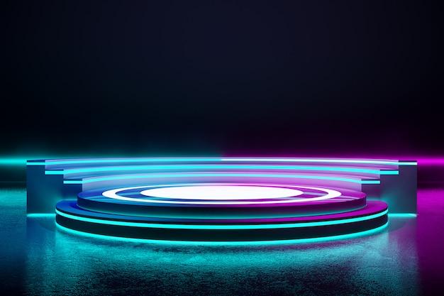 Kreisbühne mit neonlicht