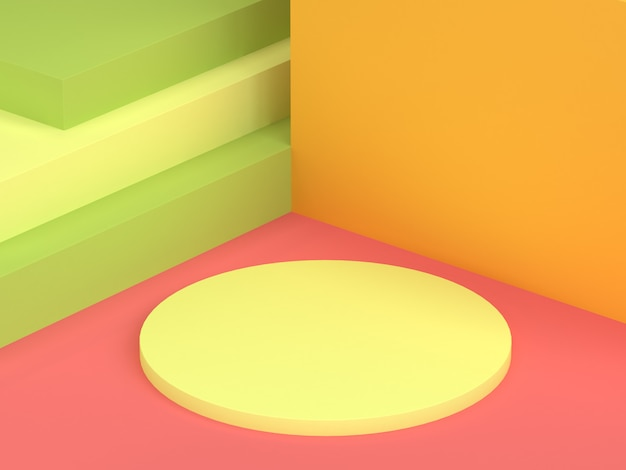 Kreisen sie minimale wiedergabe des hintergrundes 3d der gelben wandroten rosa bodenzusammenfassungsszene ein