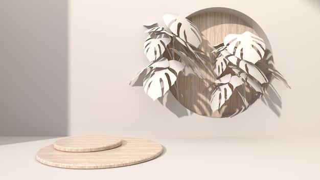 Kreisförmige geometrische holzwürfel auf einem cremefarbenen bohrloch mit abstraktem hintergrund, das rundes holz setzt. mit monsterblättern dekorieren. zur präsentation kosmetischer produkte. 3d-rendering