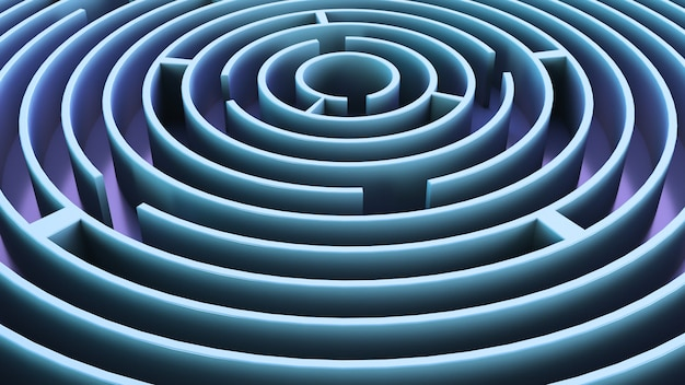 Kreisförmiges labyrinth. blaues thema. abstrakter hintergrund