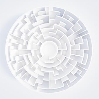Kreisförmiges labyrinth der 3d-darstellung in der draufsicht auf weißem hintergrund.