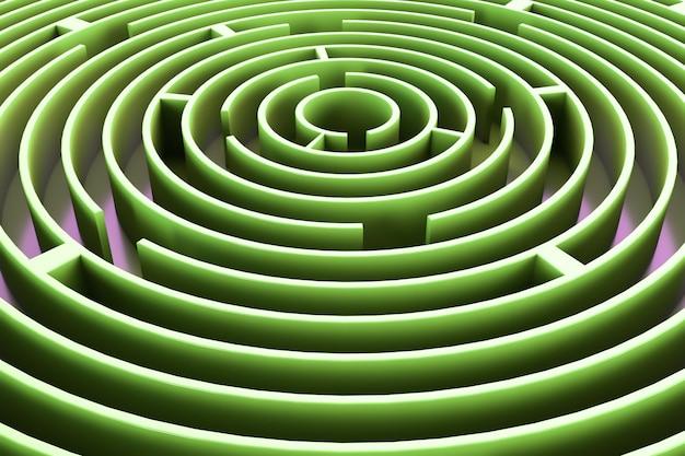 Kreisförmiges labyrinth. hellgrüner stil. abstrakter hintergrund