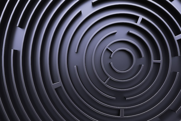 Kreisförmiges labyrinth. von oben betrachten. schwarzer stil