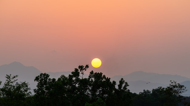 Kreissonnenuntergang auf bergen mit bäumen im wald
