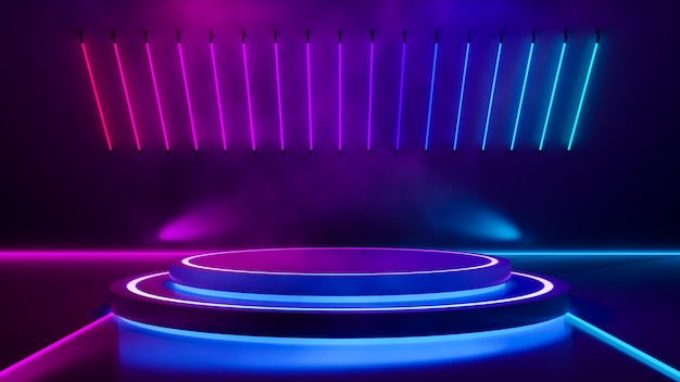 Kreisstufe und violettes neonlicht