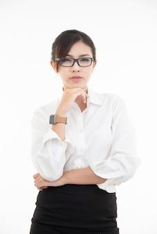 Kreuz hand mit denkendem gesicht, pose durch lebensstil des asiatischen schönen frauenporträts