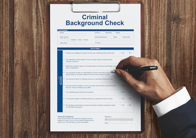 Kriminelle hintergrundcheck-versicherungsformular-konzept