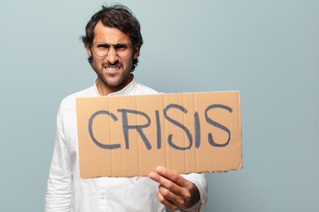 Krisenkonzept des jungen gutaussehenden indischen mannes
