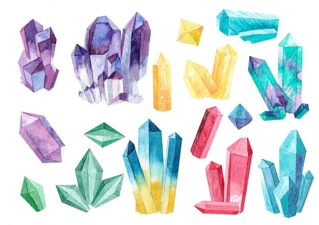Kristall-set von aquarellen