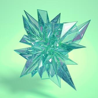 Kristalle in der 3d-wiedergabe der abstrakten bewegung