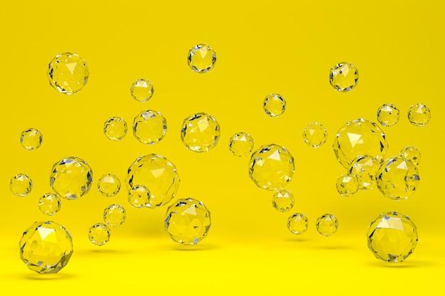 Kristallkugel abstrakt auf gelbem hintergrund