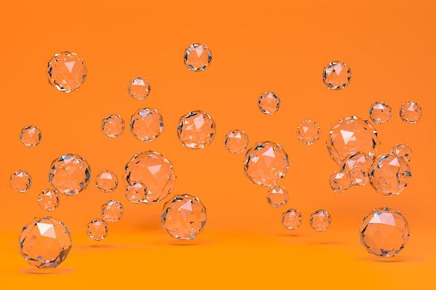 Kristallkugel abstrakt auf orange hintergrund