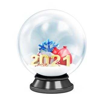 Kristallkugel mit verschiedenen weihnachtsaccessoires auf weiß