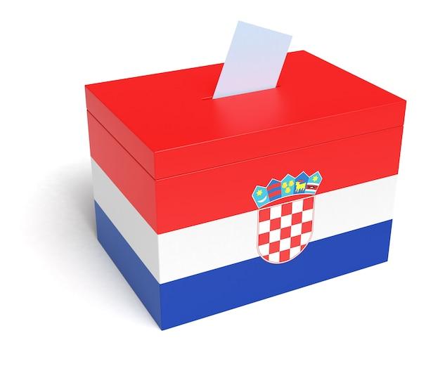 Kroatien-wahlurne mit kroatien-flagge isoliert auf weißem hintergrund