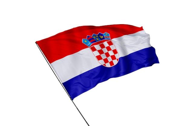 Kroatische flagge auf weißem hintergrund