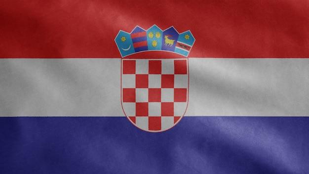 Kroatische wehende flagge im wind