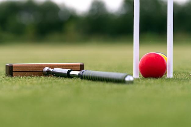 Krockethammer, wicket und bunte bälle auf grünem rasen