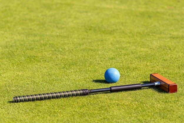 Krocketschlägel und ball auf einer grünen granne