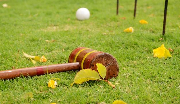 Krocketschläger und ball mit bändern. spiele im freien auf dem gras.