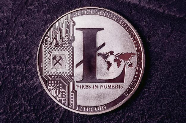 Krypta der währung litecoin-nahaufnahme. blockchain