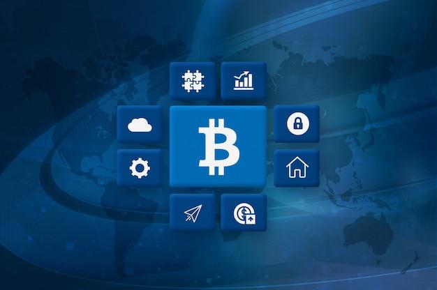 Kryptowährung bitcoin block chain mining foto
