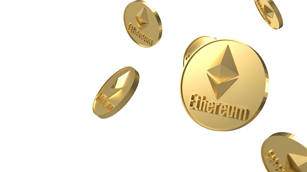 Kryptowährung der ethereum-münzen, die auf 3d-rendering des weißen hintergrunds fallen