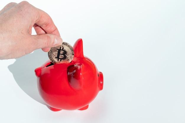 Kryptowährungs-sparkonzept. hand legt eine bitcoin-münze in ein rotes sparschwein auf einem weißen hintergrund, kopierraum.