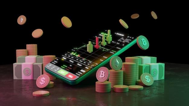 Kryptowährungshandel oder bitcoin auf smartphone und wachstum börsendaten-informationsinvestition. händler-konzept. 3d-rendering.