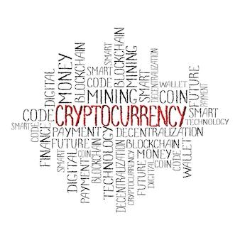 Kryptowährungskonzept im tag-cloud-hintergrund