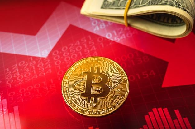 Kryptowährungskrisenkonzept, bitcoin-goldene münze mit roten aktiendiagrammen im hintergrund, wertpreis von kryptomünzen sinkt