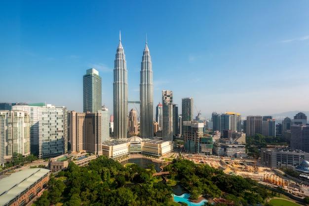 Kuala lumpur-skyline morgens, malaysia, kuala lumpur ist hauptstadt von malaysia