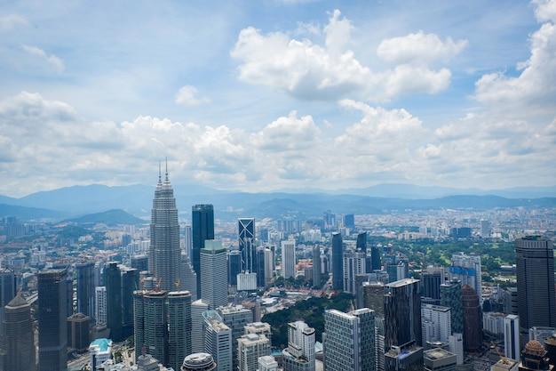 Kuala lumpur-stadtlandschaftsansicht der draufsicht der skyline in kuala lumpur malaysia asian