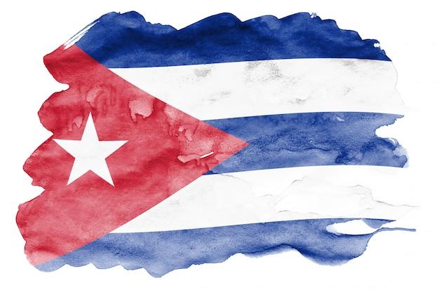 Kuba-flagge wird in der flüssigen aquarellart dargestellt, die auf weiß lokalisiert wird