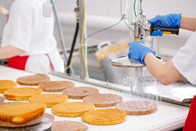 Kuchen dekorieren auf dem förderband einer süßwarenfabrik