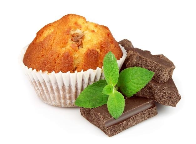 Kuchen mit schokolade und minze