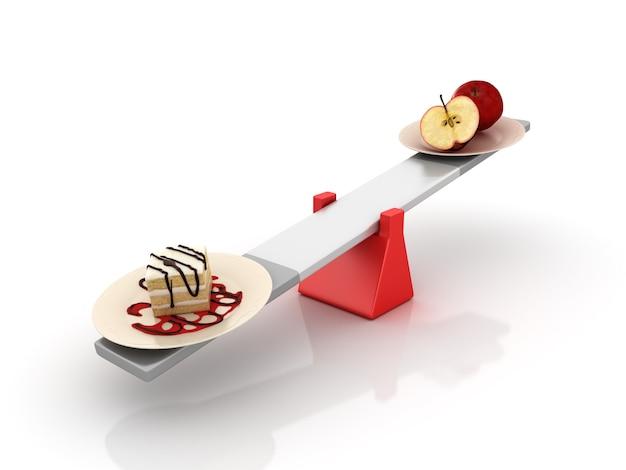 Kuchen- und fruchtausgleich auf einer wippe